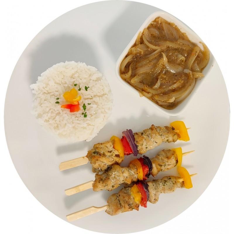 Yassa brochettes de poulet : Restaurant Africain Meaux